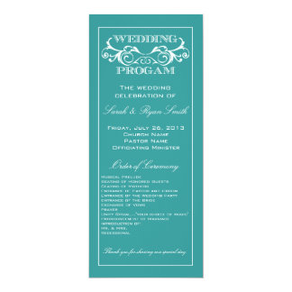 Programme vintage de mariage de turquoise de carton d'invitation  10,16 cm x 23,49 cm