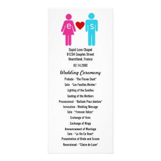 Programmes de mariage de couples d'amour de cartes doubles customisables