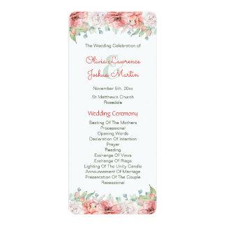 Programmes de mariage de fleur d'aquarelle carton d'invitation  10,16 cm x 23,49 cm