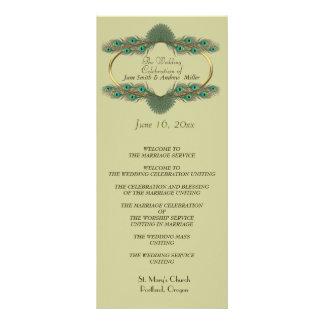 Programmes de mariage - vert et or modèle de double carte