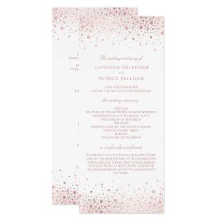 Programmes élégants de mariage de confettis roses