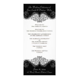 Programmes élégants noirs et blancs de mariage double cartes customisées