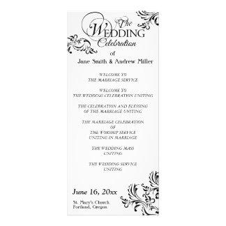 Programmes noirs et blancs simples de mariage cartons d'informations  10 cm x 22,9 cm