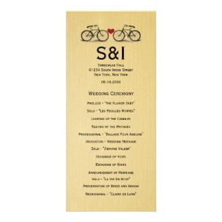 Programmes vintages de mariage de bicyclette double carte en  couleur