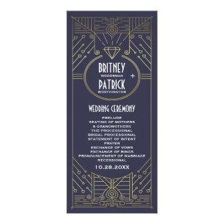 Programmes vintages de mariage de marine et d'or modèle de double carte