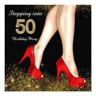 Progression dans 50 chaussures de rouge de fête carton d'invitation  13,33 cm