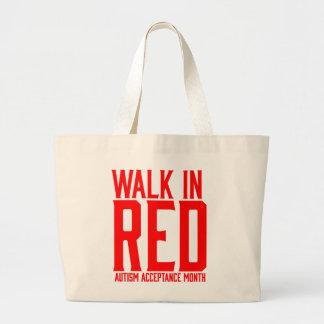 Promenade dans le sac fourre-tout rouge à