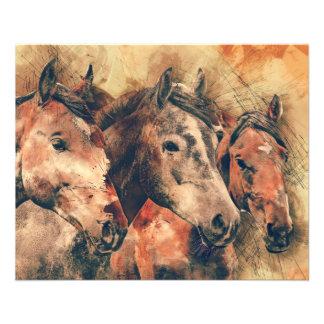 Prospectus 11,4 Cm X 14,2 Cm Aquarelle artistique de chevaux peignant