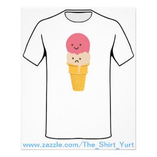 Prospectus 11,4 Cm X 14,2 Cm Cornet de crème glacée heureux et triste