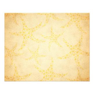 Prospectus 11,4 Cm X 14,2 Cm Étoiles de mer pointillées sur le motif vintage de