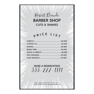 Prospectus 14 Cm X 21,6 Cm Listes des prix grises de coiffeur d'arrière -
