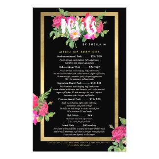 Prospectus 14 Cm X 21,6 Cm Menu floral de service de listes des prix de salon