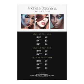 Prospectus 14 Cm X 21,6 Cm Trio moderne de photo pour des listes des prix de