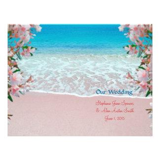 Prospectus 21,6 Cm X 24,94 Cm Insectes roses de programme de mariage de plage de
