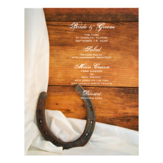 Prospectus 21,6 Cm X 24,94 Cm Menu de mariage campagnard de fer à cheval et de
