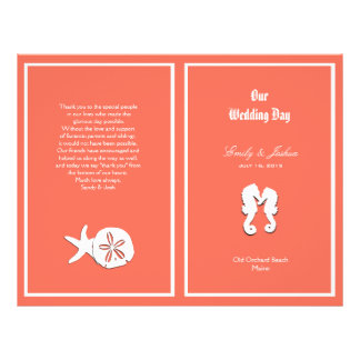 Prospectus 21,6 Cm X 24,94 Cm Modèle de corail de programme de mariage de plage