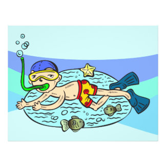 Prospectus 21,6 Cm X 24,94 Cm Natation de garçon avec des poissons