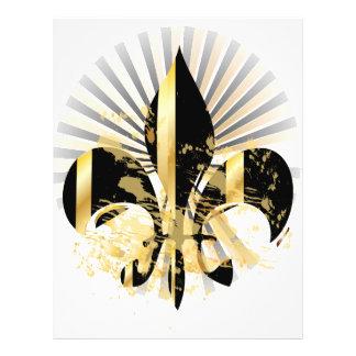 Prospectus 21,6 Cm X 24,94 Cm Noir et Gold Fleur de Lis