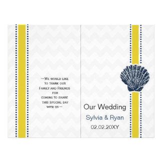 Prospectus 21,6 Cm X 24,94 Cm Papeterie de mariage de coquillage de bleu marine