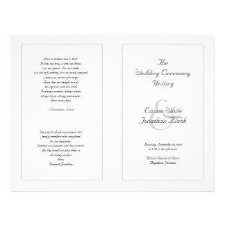 Prospectus 21,6 Cm X 24,94 Cm Programme catholique blanc de cérémonie de mariage