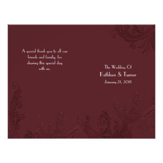 Prospectus 21,6 Cm X 24,94 Cm Programme de mariage de Flourish de Bourgogne