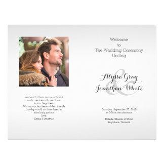 Prospectus 21,6 Cm X 24,94 Cm Programme de mariage de photo de gris argenté plié