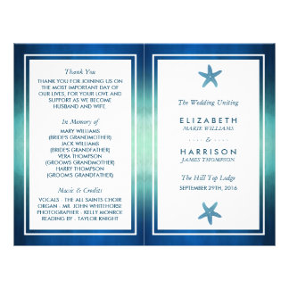 Prospectus 21,6 Cm X 24,94 Cm Programme de mariage de plage d'étoiles de mer