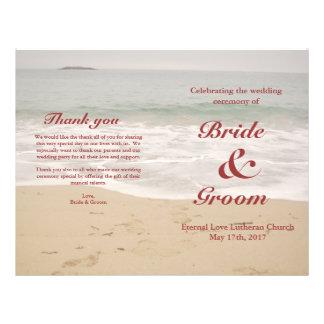 Prospectus 21,6 Cm X 24,94 Cm Programme de mariage de plage :  Plage sablonneuse