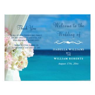 Prospectus 21,6 Cm X 24,94 Cm Programme floral élégant de mariage d'été de plage