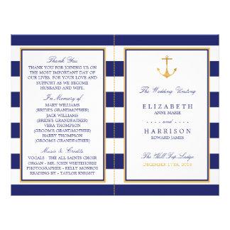 Prospectus 21,6 Cm X 24,94 Cm Programme nautique vintage de mariage d'ancre d'or