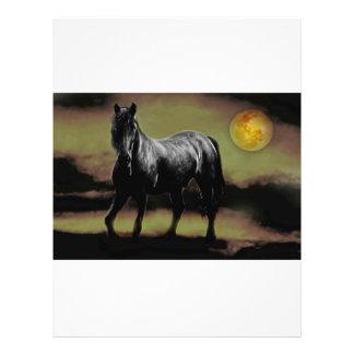 Prospectus 21,6 Cm X 24,94 Cm Silhouette de cheval par clair de lune