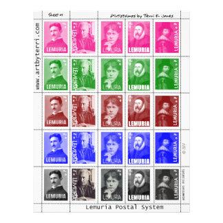 Prospectus 21,6 Cm X 24,94 Cm Timbres-poste de Faux d'Artistamps Tesla Blavatsky