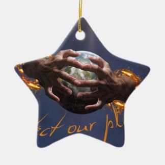 Protect our planet ornement étoile en céramique