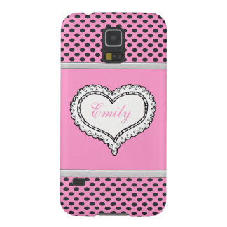 Protection Galaxy S5 Monogramme mignon adorable gai de coeur de pois