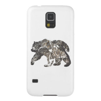Protection Galaxy S5 Silhouette d'ours avec des arbres, nature sauvage