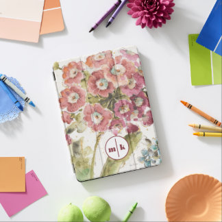 Protection iPad Air Ajoutez votre primevère rose du monogramme  