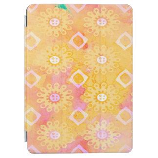 Protection iPad Air Aquarelle blanche et rose de jaune abstrait