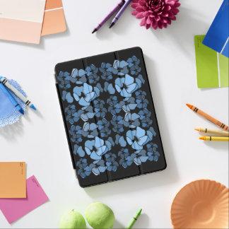 Protection iPad Air Bleu chic sur l'impression florale noire d'art