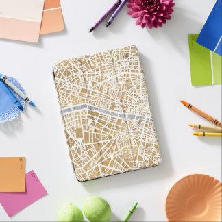 Protection iPad Air Carte dorée de ville de Paris