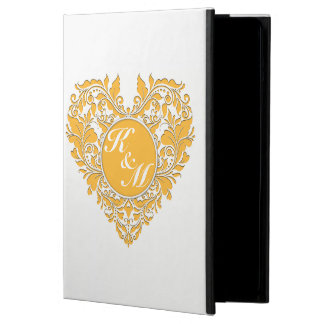 Protection iPad Air Coeur jaune et blanc de HeartyParty de damassé