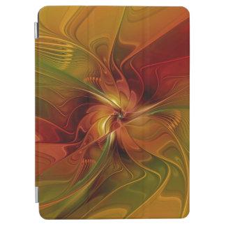 Protection iPad Air Fleur verte orange rouge abstraite d'art de