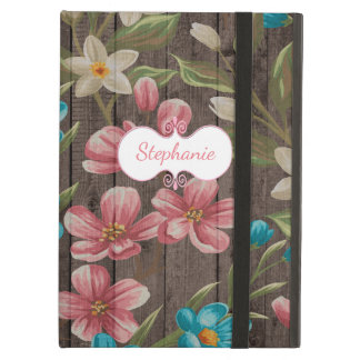 Protection iPad Air Fleurs peintes sur la caisse en bois d'air d'iPad