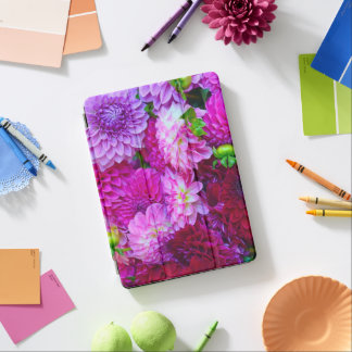 Protection iPad Air Fleurs roses et pourpres de dahlia