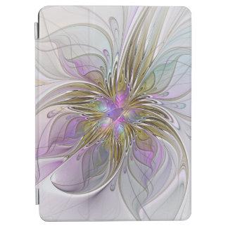 Protection iPad Air Fractale abstraite colorée florale avec le rose et