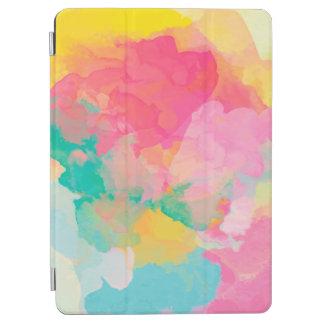 Protection iPad Air Jaune rose pour aquarelle et bleu d'abstraction