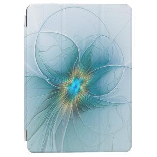 Protection iPad Air La peu de fleur bleue moderne de fractale d'or de