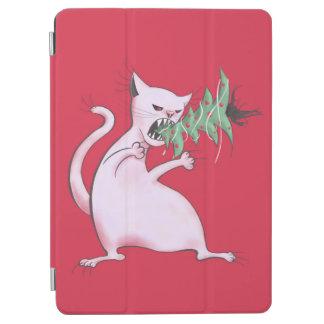 Protection iPad Air Le gros chat blanc drôle mange l'arbre de Noël