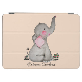 Protection iPad Air L'éléphant mignon de bébé d'aquarelle avec