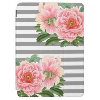 Protection iPad Air Lignes roses de gris de pivoines