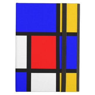 Protection iPad Air Mondrian jaune rouge bleu